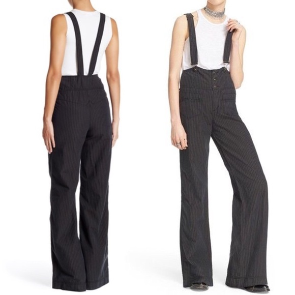 44fe9ec37 Free People High Waist Suspender Wide Leg Pant